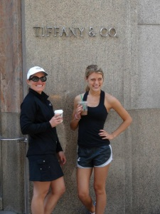 "My Aunt Jenn and I eating ""Breakfast at Tiffany's"" after a jog in Central Park."