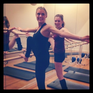 Nicole and I getting our stretch on at Barre 3.